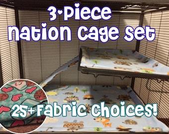 Custom Critter Nation Cage Liner Set- Bottom Liner, Shelf Liner, Ramp Cover- For Rats, Ferrets, Hedgehogs and more!