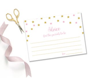 Gold and pink advice for new parents cards printables, girl baby shower advice cards, advice for parents, advice for new mum, mom  BaS01