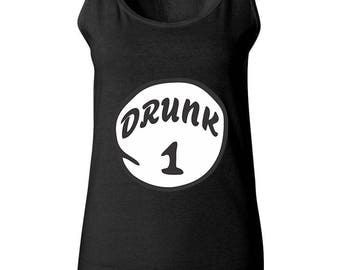 Drunk 1 The Most Popular Funny Women Tank Tops Sleeveless Tops Best Seller Designed Women Tanks