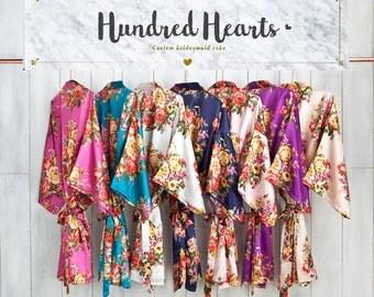 Bridesmaid Robes | Flora Bridal Robe | Bride Robe | Bridal Party Robes | Bridesmaid Gifts | Satin Robe | Kimono Robe