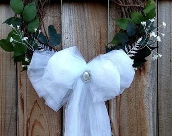 Bridal Wreath, Wedding Wreath, Bridal Shower Wreath, Tulle Wreath, Rhinestone Wreath
