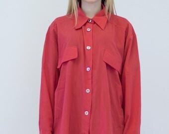 VINTAGE Red Long Retro Shirt