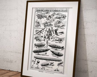 Engraving of Airplanes and Zeppelins