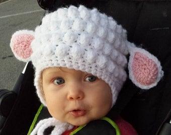 Crochet Lamb Hat, Baby Shower Gift, Baby Lamb, Crochet Animal Hat, Baby Hat, Photo Props, Expecting Mom Gift, Baby Accessories, Baby Gift