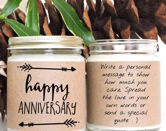 Happy Anniversary!Scented Soy Candle- 9 oz jar,Personalized,Soy Candle,Just For Fun,Custom Gift,Friend,Love,Romance,Friendship,Family,Quote