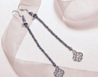 Shoulder Dusters in Silver with Celtic Cross Charm