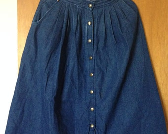 Sasoon denim button front full skirt