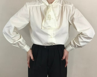 Vintage 1980s, Creme Secretary Blouse, Size Small, Long Sleeved Shirt