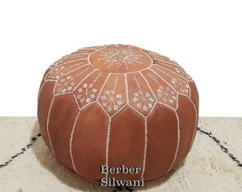 Chestnut Moroccan Leather Pouf, Moroccan Pouf Ottoman Footstool Poof Poufs