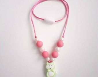 Kids necklace, teething necklace, jewelry, anti-stress, raccoon, silicone beads