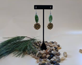 Green Embroidered Diffuser Earrings