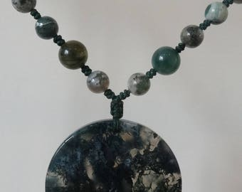 Unique Knotted Moss Agate Necklace