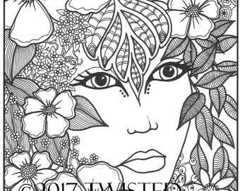 Instant Download - Adult Coloring Page - NATURE GIRL - printable art