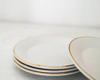 Set of 4 Porcelain Plates with Gold Trim, Made in England