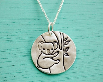 KOALA NECKLACE koala jewelry,  eco friendly jewelry, sterling silver koala charm boygirlparty chocolate and steel, ecofriendly koala pendant