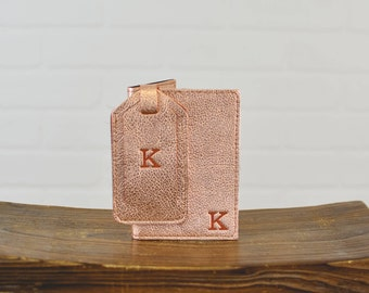 Leather Passport Holder + Luggage Tag Set |  Travel Gift for Girlfriend  Her Woman Leather for her Gift Set Rose Gold and Canvas
