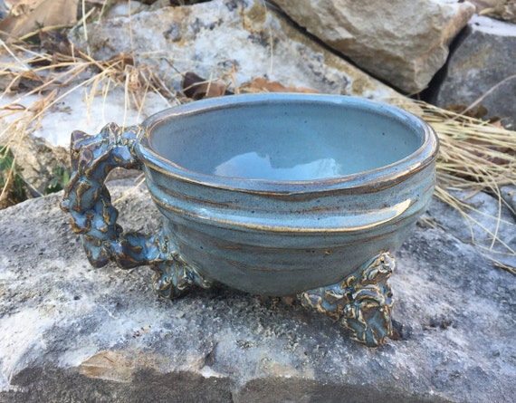large handled soup bowl in slate blue and brown