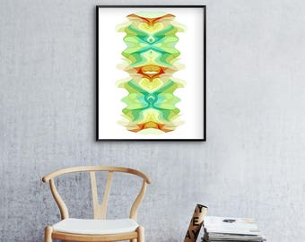Contemporary Art, Pale Green, Pastel Wall Art, Pale Yellow, Abstract Art Print, Aqua Blue, Modern Art Print, Lime Green, Large Abstract Art