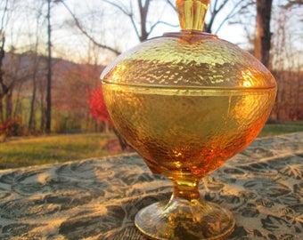 Vintage Pedestal Candy Dish With Lid - Hazel Atlas Colony Square -  Gold/ Amber Pebbletone Glassware