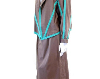 Vintage NR1 by Ned Gould 2 Piece Blouse w Matching Skirt // Brown and Teal High Waist Skirt Suit// Size 12 // 127