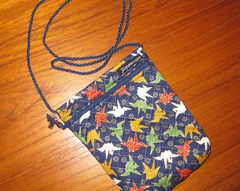 Passport Travel Pouch Quilted Asian Japanese Origami Cranes Design Deep blue