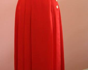 Red Linen Fully Lined Side Button Skirt, 6P, Petite Skirt, Red Skirt, Red Petite Skirt, Circa 1980's Dress Skirt, Pleated Skirt