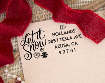 Christmas Return Address Stamp, Christmas Card Rubber Stamper, Let is Snow Return Address Stamps, Personalized Stamps --10384-CB17-000