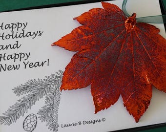 Leaf Ornament Copper, Full Moon Maple, Leaf Extra Large, Ornament Gift, Christmas Card, Copper Leaf, Tree Ornament, Wedding, ORNA64