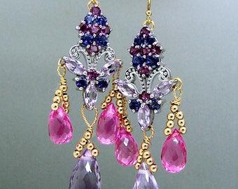 Pink Amethyst Pink Topaz Iolite Gemstone Chandelier Earrings Sterling Silver Vermeil