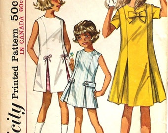Cute Girl's Dress with Inverted Pleat  Size 8 Simplicity 5945 Vintage Sewing Pattern