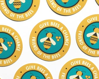 "Give Bees a Chance 2"" vinyl decal, friend of the bees sticker, laptop stickers, cute sticker, bottle sticker, phone sticker, bumper sticker"