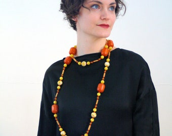 1940s Amber Bakelite Bead Necklace, 40s Butterscotch Bakelite Beads, Long Length Vintage Tribal Necklace, Opera Length Faux Amber Necklace