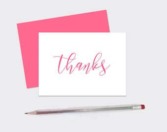 """Set of [10] 4x6 IN. Elegant """"Thanks"""" Cards - Thank You Cards - Minimal - 4x6 - Card Set - Cursive - Note Card - Greeting Card - minimalist"""