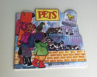 Pets By Lois Vanderhoef 1976 Golden Shape Book , Vintage Animals Ilustrations By Lois Axeman , Retro Children's Book