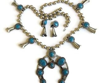Large Faux Turquoise Squash Blossom Necklace & Earrings Set Vintage Statement