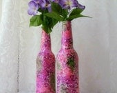 Pink and Purple Painted Beer Bottles, Decorative Bottles, Upcycled Bottle Art, Bottle Vase, Boho Decor, Housewarming Gift, Ready To Ship