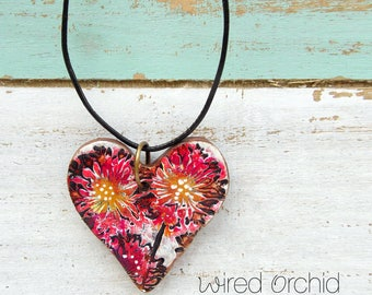 Polymer Clay Heart Pendant Jewelry featuring an Wildflower Grunge Boho Design in Red, Magenta, Gold, Black and White