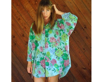 Floral Printed Oversized Woven Pocket Shirt - Vintage 90s - XL/XXL