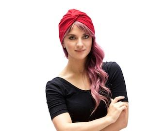 Red Turban Hat Chemo Turban Women's Turban Hat Hair Covering Scarf Beach Coverup Chemo Cap Hair Scarf Fashion Turban 1940s Chemo Hat