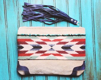 Tutuilla Creek Keepsake Clutch / Pendleton Wool southwest tribal leather fringe Cowgirl zipper Bag