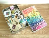 Tin Full of Used Postage Stamps | Rainbow Stamp Art Tin | Colourful Storage Tin inc Recycled Craft Supplies, Gift for Crafter Collage Artist