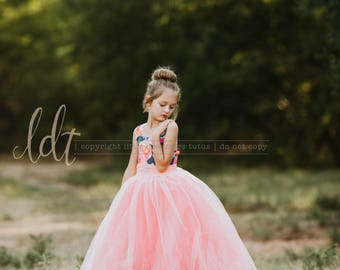 NEW! The ELIZABETH Gown in Sheer Peach - Flower Girl Dress