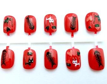 Red and Black Naughty Cat Nails |  Kawaii Japanese Nail Art |  Short Fake Nails | Kitty Cat Fake Nails | Cat Press On Nails |  Petite Nails