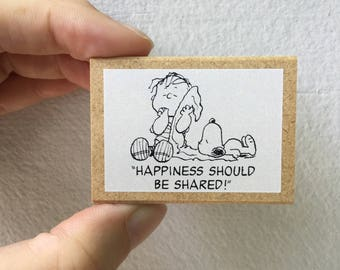 Snoopy Rubber Stamp - Happiness should be shared! -  Kodomo no Kao Stamp