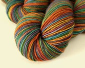 Hand Dyed Sock Yarn, Sock Weight Superwash Merino Wool - Potluck Rainbow - Fingering Indie Dyed Hand Dyed Yarn