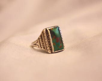 Mens Ring Turquoise Large Rectangular Single Stone Green Turquoise Shades Warm Brown Matrix Silver Braiding Southwest Vintage Size 9 3/4