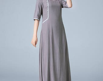 gray dress, linen dress, maxi dress, pleated dress, fall dress, retro dress, womens dresses, evening dress, fitted dress, custom made 1790