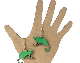 Chameleon-Lizard Earrings (wood)