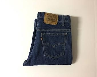 Vintage Men's 70's Levi's 517, Orange Tab, Jeans, Dark Wash, Straight Leg, Denim (W31)