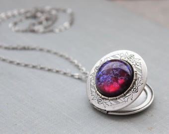 Dragons Breath Mexican Fire Opal Locket Necklace